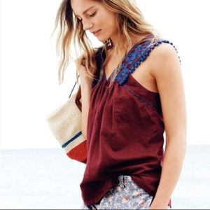 J. Crew Tops - J. Crew embroidered Pom Pom top.
